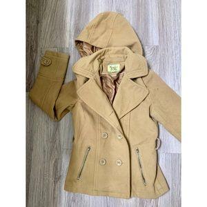 1 beige pea coat w hoodie M